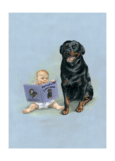 Carl & Child Reading   | Good Dog, Carl Art Prints These prints are made at our location in Seattle, WA. They have a thick, white backing board and are sealed in clear bags. Each is suitable for framing at 11 inches x 14 inches or can be used as is for wall display. This image comes from the book Carl Goes Shopping.