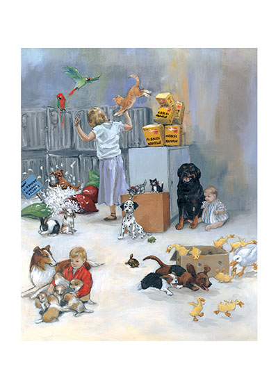 Carl in Pet Shop Signed Art Print | Good Dog, Carl Art Prints These prints are made at our location in Seattle, WA. They have a thick, white backing board and are sealed in clear bags. Each is suitable for framing at 11 inches x 14 inches or can be used as is for wall display. This image comes from the book Carl Goes Shopping.