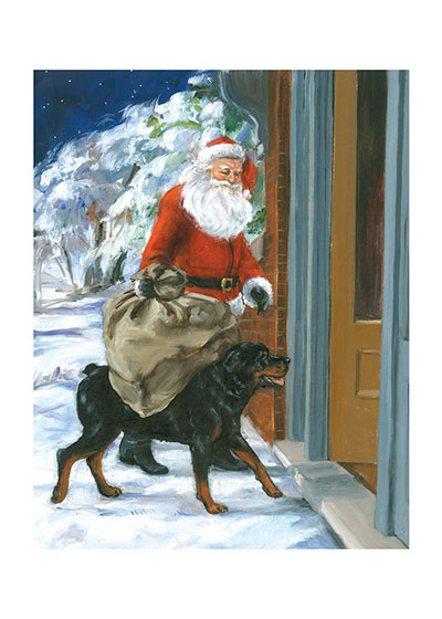 Carl & Santa These prints are made at our location in Seattle, WA. They have a thick, white backing board and are sealed in clear bags. Each is suitable for framing at 11 inches x 14 inches or can be used as is for wall display. This image comes from the book Carl Goes Shopping.