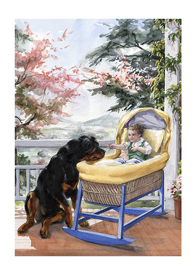 Carl Guarding a Baby in a Cradle (Signed) This painting of Carl attending a young charge who obviously welcomes him was made to hang in a child's room.  It reminds us of what faithful and loving guardians our dogs are to us and our children.  These prints are made at our location in Seattle, WA. They have a thick, white backing board and are sealed in clear bags. Each is suitable for framing at 11 inches x 14 inches or can be used as is for wall display. This image comes from the book Carl Goes Shopping.  This print is signed by Alexandra Day and with a stamp-print of the real Carl's paw.