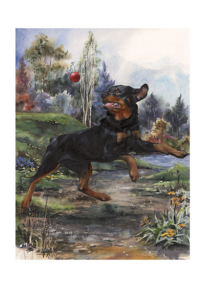 Carl Catching Ball  | Good Dog, Carl Art Prints These prints are made at our location in Seattle, WA. They have a thick, white backing board and are sealed in clear bags. Each is suitable for framing at 11 inches x 14 inches or can be used as is for wall display. This image comes from the book Carl Goes Shopping.