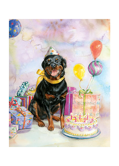 Good Dog Carl w/ Cake  INSIDE GREETING: HAPPY BIRTHDAY  Good Dog, Carl creator Alexandra Day's most famous creation offers birthday smiles, cake, balloons and presents  in this delightful image.  Our greeting cards are custom printed at our location in Seattle, WA. They come bagged with an envelope. We love illustration art from old children's books and early, printed ephemera. These cards reflect this interest in bringing delightful art back to life.