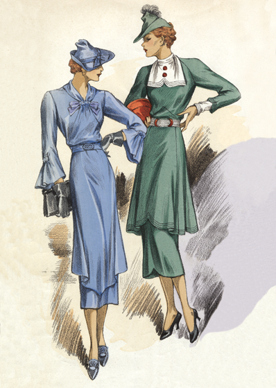 30s Fashion Two Dresses Art Deco evolved during the 1920s and 1930s.  The earlier style was geometric, but by the 30s the forms were streamlined, meaning that they were sleeker, more aerodynamic but, in fashion, also more form-fitting than the waist-less 20s.  Both men's and women's fashion show the grace and elongation of this later development.  These lovely people are as slim and self-contained as panthers.  The world's economies may have been straitened in the 1930s, but Paris was still the center of haute couture, and women everywhere looked to Paris for inspiration and leadership in fashion. This image is a plate from the French publication, Chic Parisien.