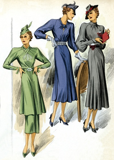 "30s Fashion Three Dresses | 1930s Fashion Fashion Art Prints ""Art Deco evolved during the 1920s and 1930s.  The earlier style was geometric, but by the 30s the forms were streamlined, meaning that they were sleeker, more aerodynamic but, in fashion, also more form-fitting than the waist-less 20s.  Both men's and women's fashion show the grace and elongation of this later development.  These lovely people are as slim and self-contained as panthers."