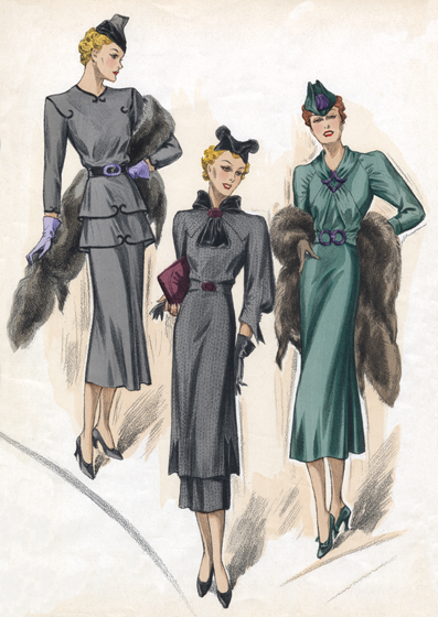 30s Fashion Sea-Colored Dresses Art Deco evolved during the 1920s and 1930s.  The earlier style was geometric, but by the 30s the forms were streamlined, meaning that they were sleeker, more aerodynamic but, in fashion, also more form-fitting than the waist-less 20s.  Both men's and women's fashion show the grace and elongation of this later development.  These lovely people are as slim and self-contained as panthers.  The world's economies may have been straitened in the 1930s, but Paris was still the center of haute couture, and women everywhere looked to Paris for inspiration and leadership in fashion. This image is a plate from the French publication, Chic Parisien.