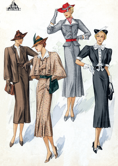 30s Fashion: A Quartet of Chic Ladies Art Deco evolved during the 1920s and 1930s.  The earlier style was geometric, but by the 30s the forms were streamlined, meaning that they were sleeker, more aerodynamic but, in fashion, also more form-fitting than the waist-less 20s.  Both men's and women's fashion show the grace and elongation of this later development.  These lovely people are as slim and self-contained as panthers.  The world's economies may have been straitened in the 1930s, but Paris was still the center of haute couture, and women everywhere looked to Paris for inspiration and leadership in fashion. This image is a plate from the French publication, Chic Parisien.