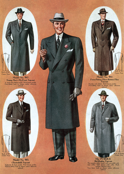 30s Fashion: Gentlemen's Outerwear Art Deco evolved during the 1920s and 1930s.  The earlier style was geometric, but by the 30s the forms were streamlined, meaning that they were sleeker, more aerodynamic but, in fashion, also more form-fitting than the waist-less 20s.  Both men's and women's fashion show the grace and elongation of this later development.  These lovely people are as slim and self-contained as panthers.