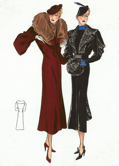 "30s Fashion Ladies' Outerwear | 1930s Fashion Fashion Art Prints ""Art Deco evolved during the 1920s and 1930s.  The earlier style was geometric, but by the 30s the forms were streamlined, meaning that they were sleeker, more aerodynamic but, in fashion, also more form-fitting than the waist-less 20s.  Both men's and women's fashion show the grace and elongation of this later development.  These lovely people are as slim and self-contained as panthers."