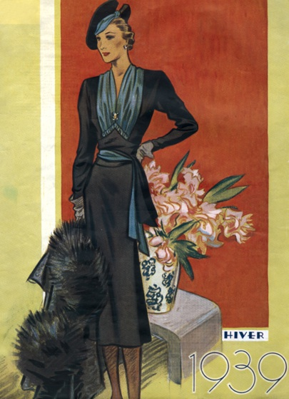 30s Fashion Black Dress and Fur Stole | 1930s Fashion Fashion Art Prints Art Deco evolved during the 1920s and 1930s.  The earlier style was geometric, but by the 30s the forms were streamlined, meaning that they were sleeker, more aerodynamic but, in fashion, also more form-fitting than the waist-less 20s.  Both men's and women's fashion show the grace and elongation of this later development.  These lovely people are as slim and self-contained as panthers.