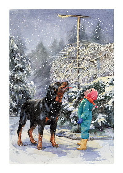 Carl and Madeleine Catching Snowflakes (Signed) Catch a snowflake on your tongue!  In this Illustration from {Carl's Snowy Afternoon} Carl and Madeleine engage in this age-old pleasure.  These prints are made at our location in Seattle, WA. They have a thick, white backing board and are sealed in clear bags. Each is suitable for framing at 11 inches x 14 inches or can be used as is for wall display.