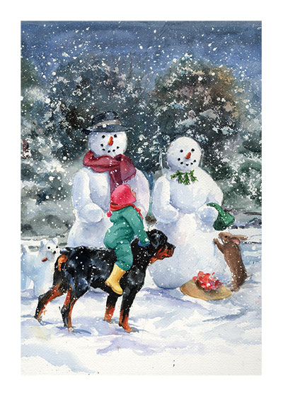 Carl and Madeleine With the Snowmen | Good Dog, Carl Art Prints This painting was made for {Carl's Snowy Afternoon}.  Carl and his little mistress are on their way home but stop to replace the snow lady's hat and give the hungry rabbit a carrot.