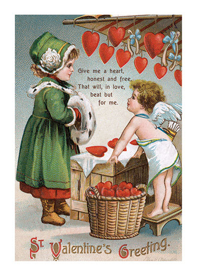 Cupid Selling Hearts to a Girl in Green Valentine's Day reached its height of popularity during the romantic Victorian age. This girl in a handsome green outfit, with matching muff and hat, is in the market, she says, for a heart that is honest and free.  Blank inside.  Our notecards are custom printed at our location in Seattle, WA. They come bagged with an envelope. We love illustration art from old children's books and early, printed ephemera. These cards reflect this interest in bringing delightful art back to life.