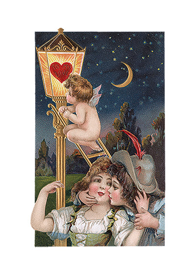 Valentine's Day Valentine's Day reached its height of popularity during the romantic Victorian age.   This sweet couple are illuminated in the nighttime rendevous by a cupid lighting a lantern.  These prints are made at our location in Seattle, WA. They have a thick, white backing board and are sealed in clear bags. Each is suitable for framing at 11 inches x 14 inches or can be used as is for wall display. Our goal is to bring back to life these wonderful illustrations from old-fashioned, children's books and from early advertising art.
