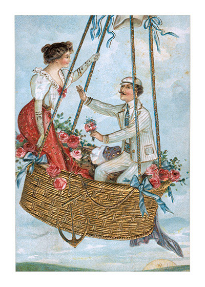 A Victorian Couple in a Hotair Balloon | Victorian Valentine's Day Greeting Cards Valentine's Day reached its height of popularity during the romantic Victorian age.