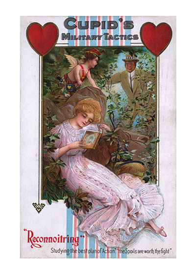 "Cupid's Military Tactics | Victorian Valentine's Day Greeting Cards ""Valentine's Day reached its height of popularity during the romantic Victorian age. Why is Cupid encouraging this young man to spy on the woman in whom he is presumably interested?  Admittedly this image made over a hundred years ago, and ideas of romance have changed, but it seems a little peculiar, though the artistry of the image is lovely."