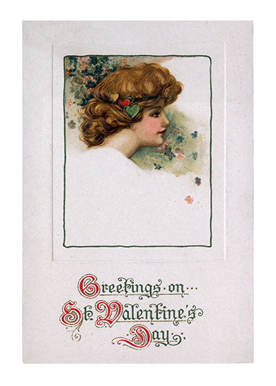 A Lady's Head with Valentine Greetings Valentine's Day reached its height of popularity during the romantic Victorian age.   These prints are made at our location in Seattle, WA. They have a thick, white backing board and are sealed in clear bags. Each is suitable for framing at 11 inches x 14 inches or can be used as is for wall display. Our goal is to bring back to life these wonderful illustrations from old-fashioned, children's books and from early advertising art.