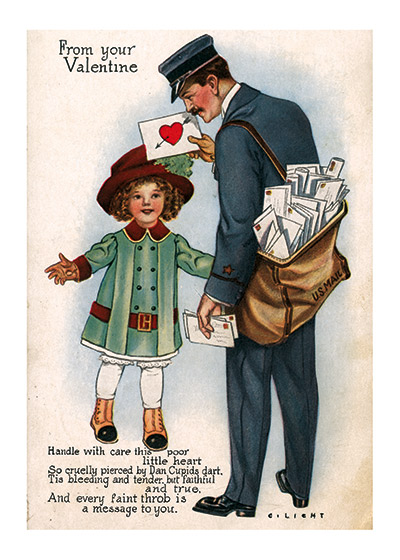 A Postman Delivering a Valentine Valentine's Day reached its height of popularity during the romantic Victorian age.   This little girl in her old fashioned coat and hat is delighted to be getting the valentine that the mailman has for her. These prints are made at our location in Seattle, WA. They have a thick, white backing board and are sealed in clear bags. Each is suitable for framing at 11 inches x 14 inches or can be used as is for wall display. Our goal is to bring back to life these wonderful illustrations from old-fashioned, children's books and from early advertising art.