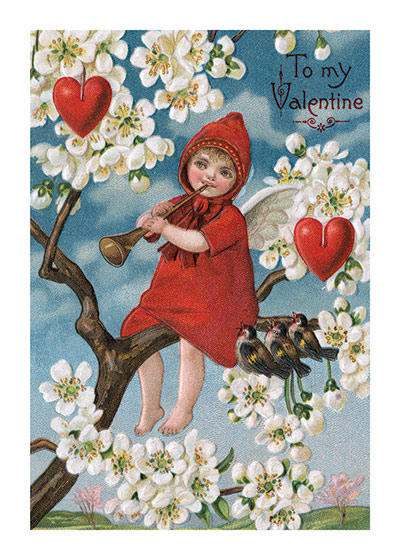 A Red-Clad Angel Blowing a Horn Valentine's Day reached its height of popularity during the romantic Victorian age.   An angel. or maybe it's Cupid, sitting in a tree and blowing a horn for the benefit of three birds.  Why this was a Valentine card is unclear, but it has hearts and and the words, To My Valentine.  Blank inside.  Our notecards are custom printed at our location in Seattle, WA. They come bagged with an envelope. We love illustration art from old children's books and early, printed ephemera. These cards reflect this interest in bringing delightful art back to life.