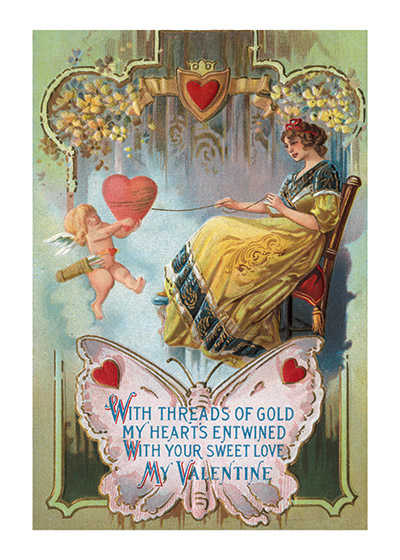 Lady Spinning a Thread of Love Valentine's Day reached its height of popularity during the romantic Victorian age. A lady holding a thread of gold around a heart.  Blank inside.  Our notecards are custom printed at our location in Seattle, WA. They come bagged with an envelope. We love illustration art from old children's books and early, printed ephemera. These cards reflect this interest in bringing delightful art back to life.