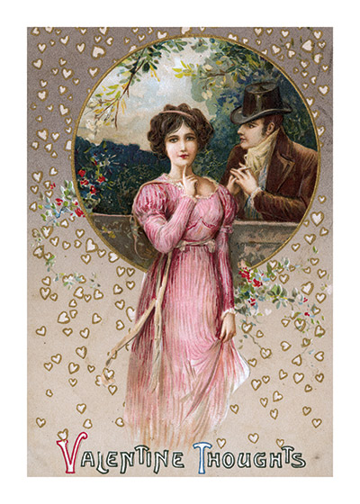 A Gentleman Pleading His Cause Valentine's Day reached its height of popularity during the romantic Victorian age.   This gentleman seems to be declaring his love, and pleading his case to the lovely lady in pink.  A beautiful example of the artistry of the Victorian Postcard.  These prints are made at our location in Seattle, WA. They have a thick, white backing board and are sealed in clear bags. Each is suitable for framing at 11 inches x 14 inches or can be used as is for wall display. Our goal is to bring back to life these wonderful illustrations from old-fashioned, children's books and from early advertising art.