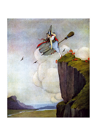 Green-Clad Witch on a Broomstick | Fairyland Fairies Art Prints A Charming young witch clad in green has apparently just taken off from a cliff.  Outhwaite excelled at charming witches.