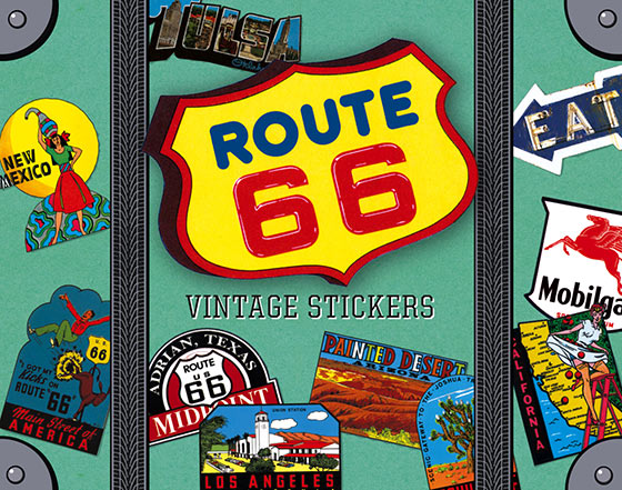 Route 66 Travel Labels Get your kicks with thirty fabulous stickers celebrating America's legendary Route 66!   These images evoke Route 66, which took motorists from Los Angeles to Chicago by a southern route. It has been replaced by more efficient highways that bypass the small towns and tourist attractions that had grown along the route. Thousands of nostalgic drivers still make the pilgrimage, hoping to capture the spirit of America's golden years. They might see diners, snake farms, tourist cabins, general stores, main streets, taverns unique small museums, junkyards, independent gas stations, soda fountains, Art Deco motels, trading posts, and myriad other wonderfully original sights that are uniquely American. Life doesn't happen along the interstates. It's against the law. William Least Heat Moon