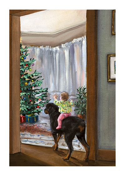 See the Christmas Tree, Carl! An Illustration from {Carl's Christmas} of Carl and the baby seeing the Christmas tree.