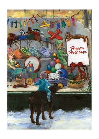 Look at the Toy Store, Carl | Good Dog, Carl Greeting Cards An Illustration from {Carl's Christmas} showing Carl and the Baby looking at a beautiful Christmas toy store window.