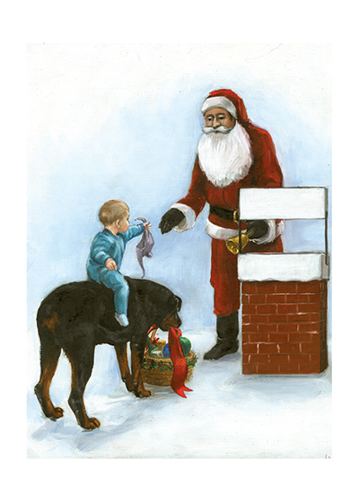 Carl Helping at Christmas An illustration from {Carl's Christmas} of Carl and the Baby giving to a collector for the needy at Christmas.