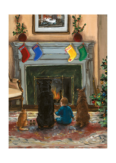 Carl and Friends Waiting for Santa (Signed) An illustration from {Carl's Christmas} of Carl, the Baby, Paddy and the house animals watchting the fireplace, hoping to see Santa Claus arrive.