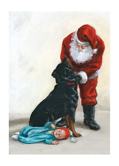 A Christmas Present for Carl (Signed) An illustration from {Carl's Christmas} showing Santa Clause giving Carl a beautiful new collar for Christmas.