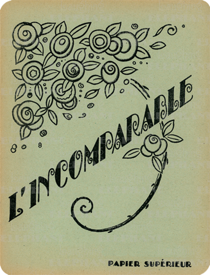 Incomparable French Notebook 20 Pages, blank . This, our version of vintage French cahiers, or notebooks, features 20 blank pages and an art nouveau decoration stating that what lies inside is incomparable! The French, as we all know, excel in the arts of daily living; coffee, bread, wine, and, as evidenced here, notebooks.