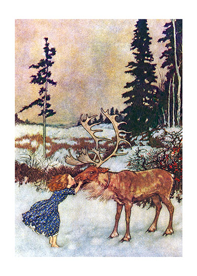 Gerda & the Reindeer A girl kisses her reindeer friend.   This charming image is from Hans Christian Andersen's The Snow Queen (1845)  a fairy tale concerning the epic journey of a girl, Gerda, who must rescue her friend Kai from the Snow Queen's ice palace.  French illustrator Edmund Dulac created these glorious illustrations for Anderson's classic story in 1911.