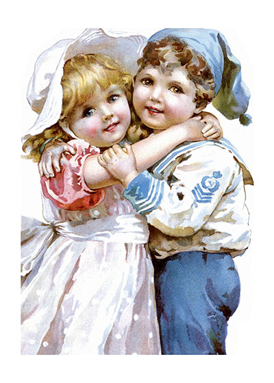Sailor Boy w Girl Blank Greeting Card | Children's Playtime Children Greeting Cards