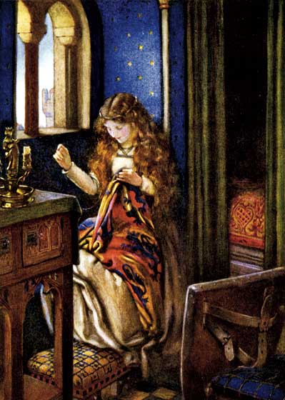 Elaine Guarding Lancelot's Shield This image, by the great English artist Eleanor Fortescue Brickdale, illustrates Tennyson's epic poem {Idylls of the King.}  >Elaine the fair, Elaine the loveable, >Elaine, the lily maid of Astolat, >High in her chamber up a tower to the east >Guarded the sacred shield of Lancelot.  These prints are made at our location in Seattle, WA. They have a thick, white backing board and are sealed in clear bags. Each is suitable for framing at 11 inches x 14 inches or can be used as is for wall display. Our goal is to bring back to life these wonderful illustrations from old-fashioned, children's books and from early advertising art.