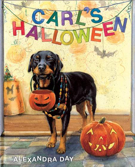 Carl's Halloween (Signed)-SOLD RETAIL ONLY This time Carl, the babysitting Rottweiler gets his little mistress into a costume, dons a necklace himself and they set out to enjoy the Halloween festivities in their neighborhood.