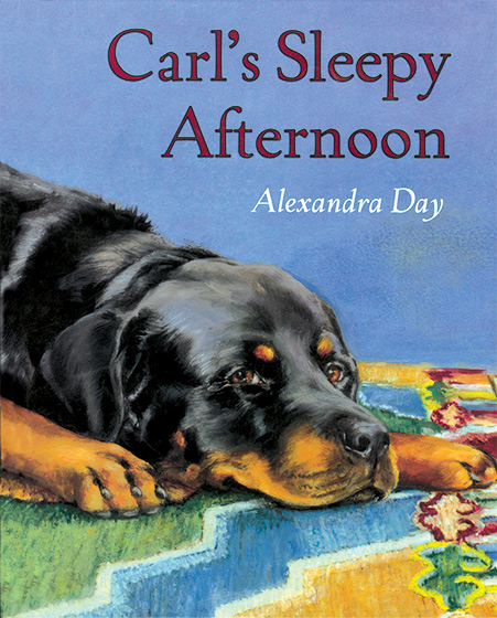 Carl's Sleepy Afternoon (Signed)-SOLD RETAIL ONLY A book to celebrate the twentieth anniversary of Good Dog, Carl. Once again, Alexandra Day has concocted a very busy day for the amazing and all-around resourceful Rottweiler Carl. His owner believes Carl is at home taking a nap, when really he's making tracks all over town. He visits a bakery, makes a delivery for the pharmacist, helps out a veterinarian, and joins in a magician's act in the park. But in the most important event of the day, Carl becomes a real hero when he rescues a litter of puppies from a fire.  With eight more pages of fun than in the previous Carl books, this captivating adventure, related mostly through pictures, will delight fans old and new.  Twenty years after making his debut in Good Dog, Carl, the Rottweiler who has charmed a generation of readers has lost none of his appeal  or his spunk. Day's stunningly realistic, brightly hued illustrations are as timeless and endearing as the plot. Carl fans young and old will cheer his return.  - Starred, Publishers Weekly  Another fan-pleasing, tongue-in-cheek outing. - Booklist  That lovable canine and his adorable preschool companion return in another winsome picture book. The entertaining story is told through the gently detailed, warmly realistic paintings. This is a must-read. - School Library Journal  THIS BOOK IS SIGNED BY ALEXANDRA DAY & WITH A STAMP-PRINT OF THE REAL CARL'S PAW.