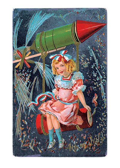 Girl Riding Firecracker  Our blank notecards are custom printed at our location in Seattle, WA. They come bagged with an envelope. We love illustration art from old children's books and early, printed ephemera. These cards reflect this interest in bringing delightful art back to life.