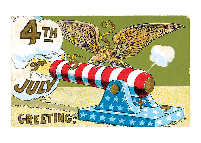 Patriotic Cannon  Our blank notecards are custom printed at our location in Seattle, WA. They come bagged with an envelope. We love illustration art from old children's books and early, printed ephemera. These cards reflect this interest in bringing delightful art back to life.