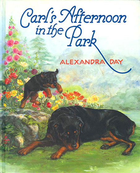 Carl's Afternoon in the Park (Signed)-SOLD RETAIL ONLY | Good Dog, Carl Books The latest in this popular series is in a larger format that generously accommodates an outdoor setting and a new character: a puppy who joins canine babysitter Carl and his small human charge on the merry-go-round, digging in a flower bed, sharing an ice cream, calling at the zoo, etc.; the original duo even poses for a painting club whose members represent them in several recognizable styles. The dogs are as charmingly true to life as ever, while the fantasy will beguile fans and worry a few literal-minded caregivers.