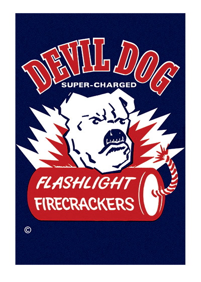 Fireworks Labels, Devil Dog  BLANK INSIDE  Our blank notecards are custom printed at our location in Seattle, WA. They come bagged with an envelope. We love illustration art from old children's books and early, printed ephemera. These cards reflect this interest in bringing delightful art back to life.