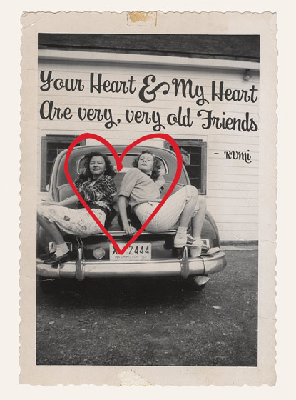 Girls on a Retro Car  OUTSIDE GREETING: Your Heart and My Heart are very, very old friends.  BLANK INSIDE\N\NTwo girlfriends pose together sweetly in this Freindship greeting card from Hooligan Ruth.
