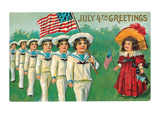 Children With American Flag   OUTSIDE GREETING: July 4th Greetings  BLANK INSIDE  This image hails from the golden age of the picture postcard, the early 20th century, when as many as a billion postcards were mailed per year. Postcard printers competed to produce cards for every holiday, and Independence Day was no exception. This particular postcard features a little girl reviewing a parade of boy soldiers carrying the stars and stripes.