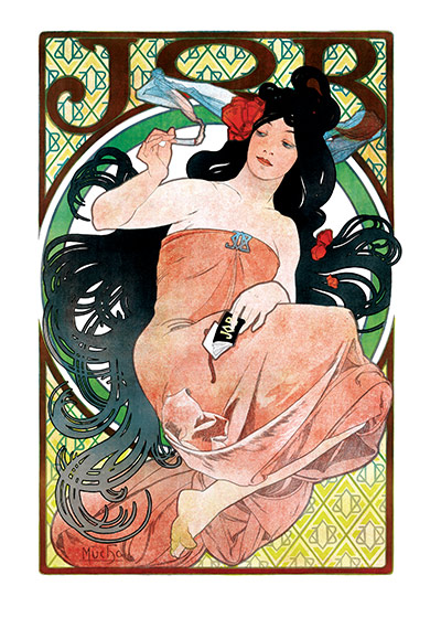 Alphonse Mucha Greeting Card, JOB Cigarette Papers  Czech artist Alphonse Mucha's Art Nouveau style makes for perfectly lovely blank cards and art prints.    Our blank notecards are custom printed at our location in Seattle, WA. They come bagged with an envelope. We love illustration art from old children's books and early, printed ephemera. These cards reflect this interest in bringing delightful art back to life.