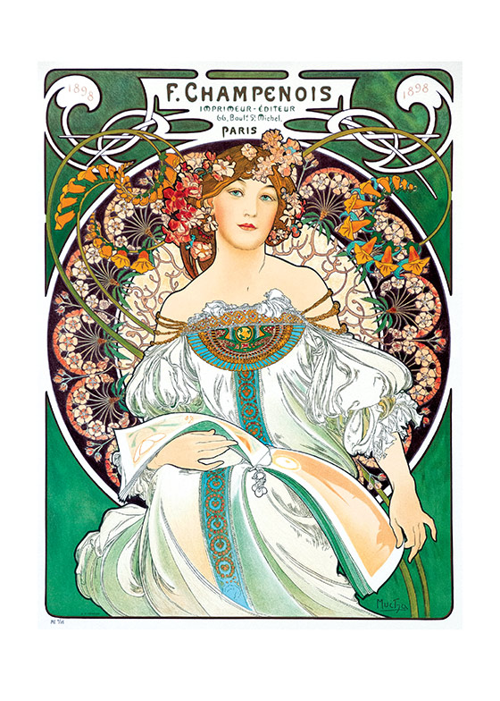 Alphonse Mucha Art Print, Reverie Czech artist Alphonse Mucha's Art Nouveau style makes for perfectly lovely blank cards and art prints. These prints are made at our location in Seattle, WA. They have a thick, white backing board and are sealed in clear bags. Each is suitable for framing at 11 inches x 14 inches or can be used as is for wall display. Our goal is to bring back to life these wonderful illustrations from old-fashioned, children's books and from early advertising art.