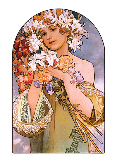 Alphonse Mucha Art Print, The Bouquet Czech artist Alphonse Mucha's Art Nouveau style makes for perfectly lovely blank cards and art prints. These prints are made at our location in Seattle, WA. They have a thick, white backing board and are sealed in clear bags. Each is suitable for framing at 11 inches x 14 inches or can be used as is for wall display. Our goal is to bring back to life these wonderful illustrations from old-fashioned, children's books and from early advertising art.