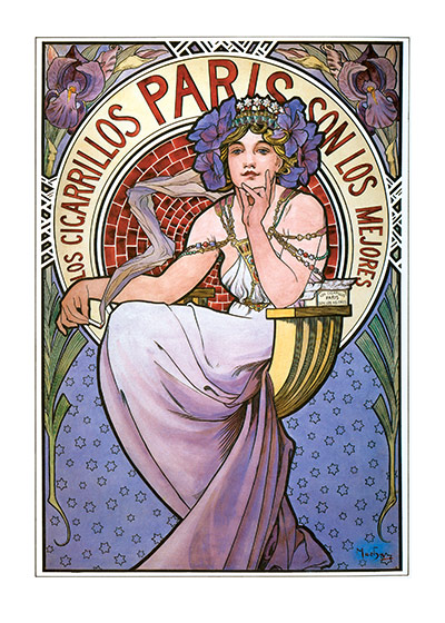 Alphonse Mucha Art Print, Los Cigarillos Paris Czech artist Alphonse Mucha's Art Nouveau style makes for perfectly lovely blank cards and art prints. These prints are made at our location in Seattle, WA. They have a thick, white backing board and are sealed in clear bags. Each is suitable for framing at 11 inches x 14 inches or can be used as is for wall display. Our goal is to bring back to life these wonderful illustrations from old-fashioned, children's books and from early advertising art.