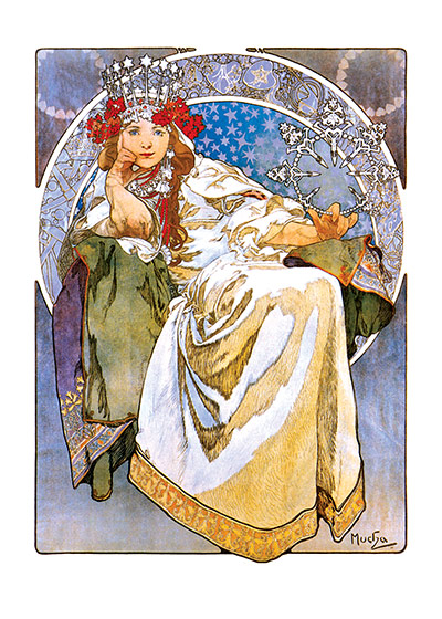 Alphonse Mucha Art Print, Queen of the Stars Czech artist Alphonse Mucha's Art Nouveau style makes for perfectly lovely blank cards and art prints. These prints are made at our location in Seattle, WA. They have a thick, white backing board and are sealed in clear bags. Each is suitable for framing at 11 inches x 14 inches or can be used as is for wall display. Our goal is to bring back to life these wonderful illustrations from old-fashioned, children's books and from early advertising art.