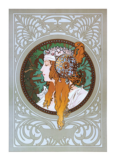 Alphonse Mucha Greeting Card, Byzantine Blonde  Czech artist Alphonse Mucha's Art Nouveau style makes for perfectly lovely blank cards and art prints.    Our blank notecards are custom printed at our location in Seattle, WA. They come bagged with an envelope. We love illustration art from old children's books and early, printed ephemera. These cards reflect this interest in bringing delightful art back to life.