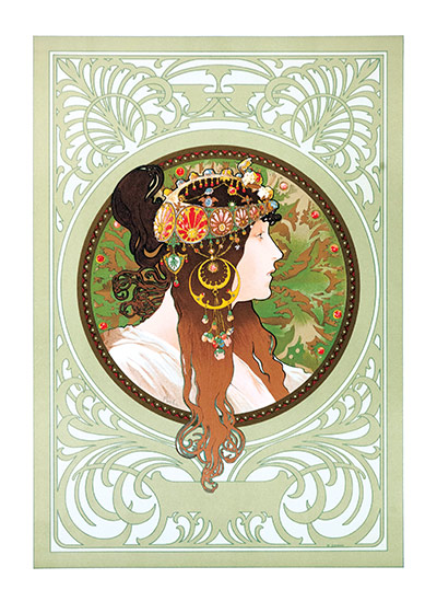 Alphonse Mucha Greeting Card, Byzantine Brunette  Czech artist Alphonse Mucha's Art Nouveau style makes for perfectly lovely blank cards and art prints.    Our blank notecards are custom printed at our location in Seattle, WA. They come bagged with an envelope. We love illustration art from old children's books and early, printed ephemera. These cards reflect this interest in bringing delightful art back to life.